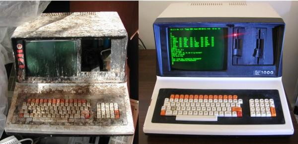 SAGA FOX LS-1000, prima e dopo il nostro intervento di restauro. L'unica parte aggiunta e' il tasto